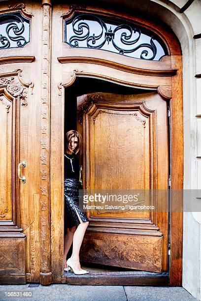 Editor in Chief of CR FashionBook Carine Roitfeld is photographed leaving home for Madame Figaro on September 27 2012 during Paris Fashion Week in...