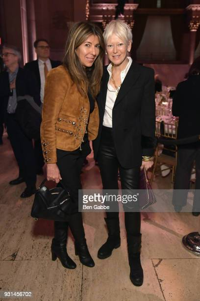 Editor in Chief of Elle Magazine Nina Garcia and Chief Content Officer for Hearst Magazines Joanna Coles attend the Ellie Awards 2018 on March 13...