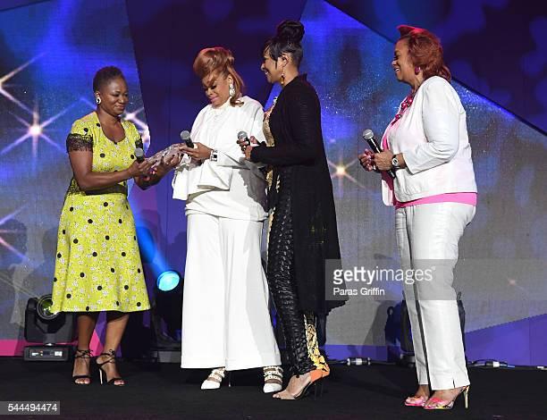 Editor in Chief of ESSENCE Vanessa K De Luca presents the AllStar Tribute Award to Karen Clark Sheard Dorinda ClarkCole and Jacky Cullum Chisholm...