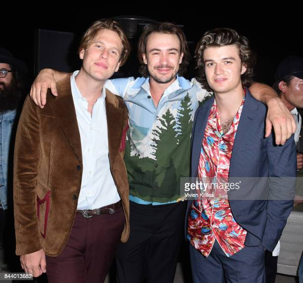 Editor in Chief of Flaunt Matthew Bedard Ben O'Toole and Joe Keery attend Prada And Flaunt Celebrate The Aftershock Issue New America on September 7...