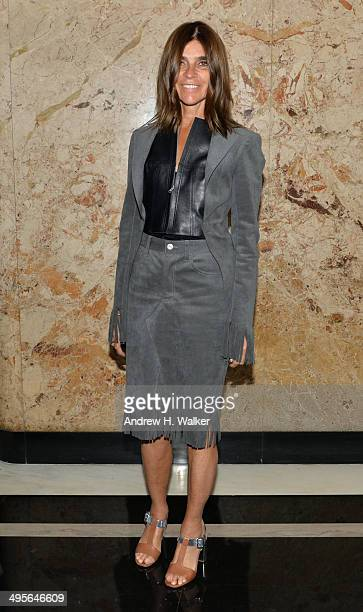 Editor in chief of French Vogue Carine Roitfeld attends the Gucci beauty launch event hosted by Frida Giannini on June 4 2014 in New York City