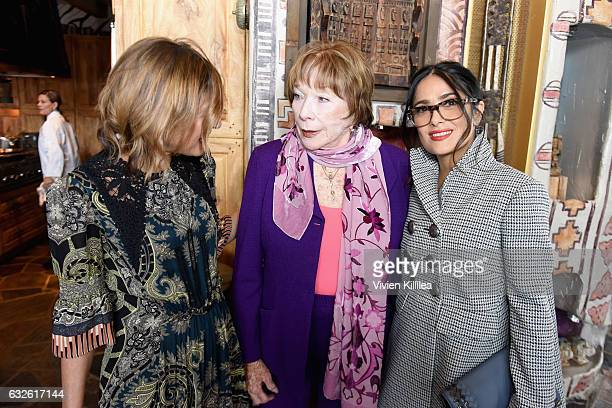 Editor in Chief of Glamour Magazine Cindi Leive and actresses Shirley MacLaine and Salma Hayek attend Lunch Celebrating Films Powered By Women Hosted...
