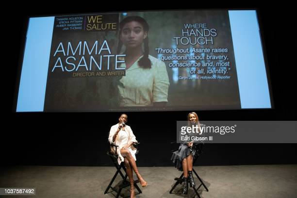 Editor in chief of ICON MANN Tamara Houston and Director/Screenwriter Amma Asante speak onstage at the screening of 'Where Hands Touch' at CAA on...