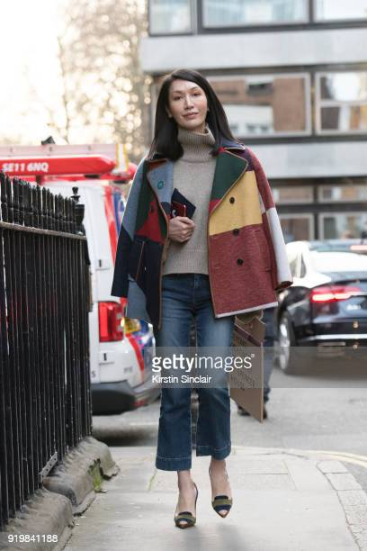 Editor in chief of Instyle China Jerri Ng on day one of London Womens Fashion Week Autumn/Winter 2018 on February 16 2018 in London England