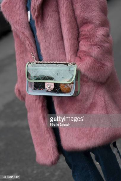 Editor in chief of MINT Irina Lakicevic wears a Hope jacket Chanel bag day 4 of Paris Womens Fashion Week Spring/Summer 2018 on March 1 2018 in...