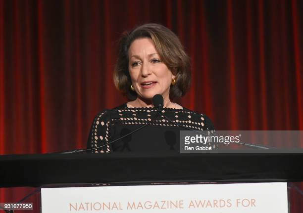Editor In Chief of National Geographic Magazine Susan Goldberg speaks onstage during the Ellie Awards 2018 on March 13 2018 in New York City