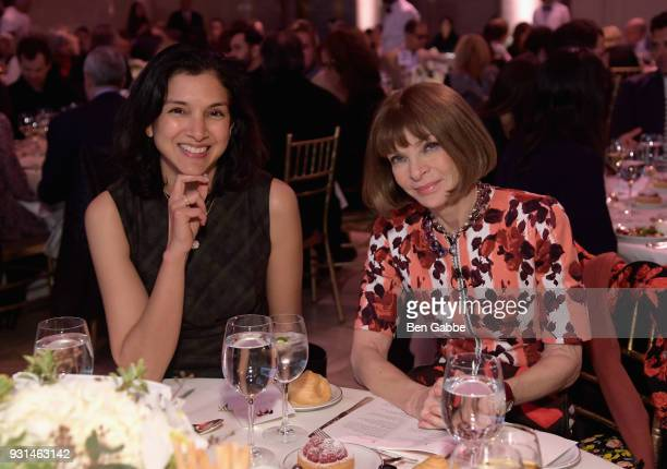 Editor in Chief of Vanity Fair Radhika Jones and Anna Wintour attend the Ellie Awards 2018 on March 13 2018 in New York City