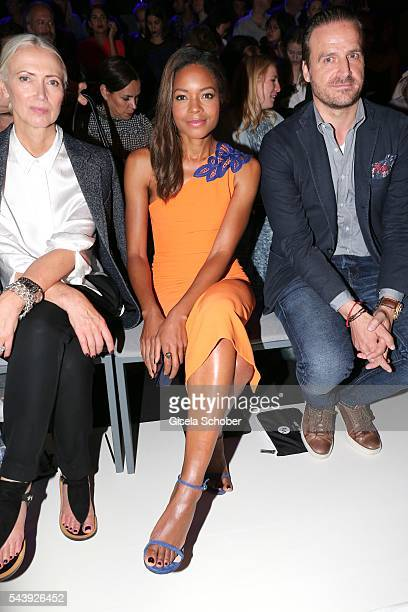 Editor in chief of Vogue Christiane Arp Naomi Harris and John Cloppenburg attend the 'Designer for Tomorrow' during the MercedesBenz Fashion Week...