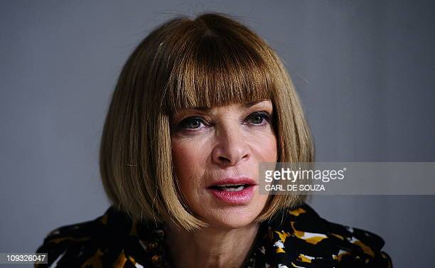 Editor in Chief of Vogue fashion magazine Anna Wintour is pictured before the Christopher Kane's Autumn/Winter 2011 collection show on the fourth day...