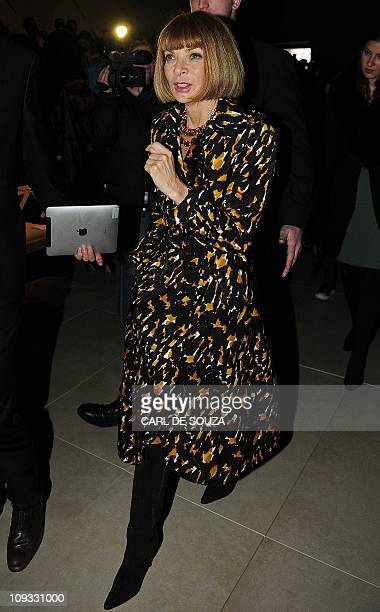 Editor in Chief of Vogue fashion magazine Anna Wintour is pictured before the Burberry Autumn/Winter 2011 collection show on the fourth day of the...