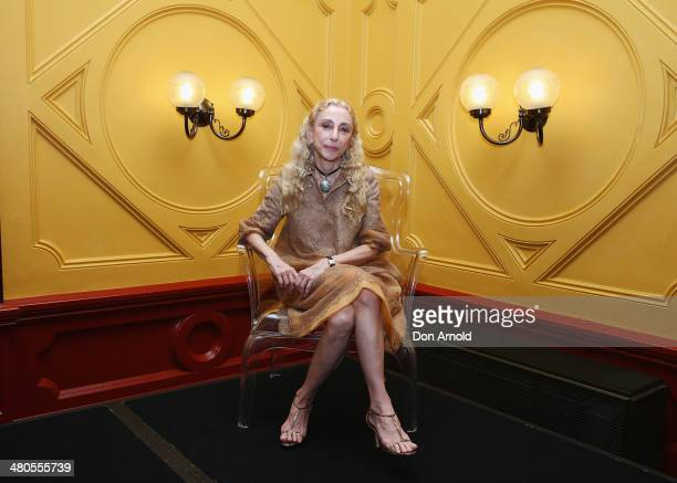 Editor in Chief of Vogue Italia and L'Uomo Vogue Franca Sozzani poses at a press conference to launch World Wide Wool and L'Umomo Vogue in...
