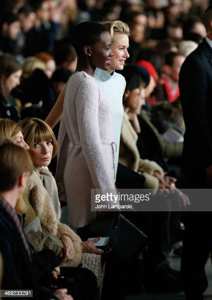 Editor in Chief of Vogue Magazine Anna Wintour, Lupita Nyong'o and Naomi Watts attend the Calvin Klein Collection Show during Mercedes-Benz Fashion...