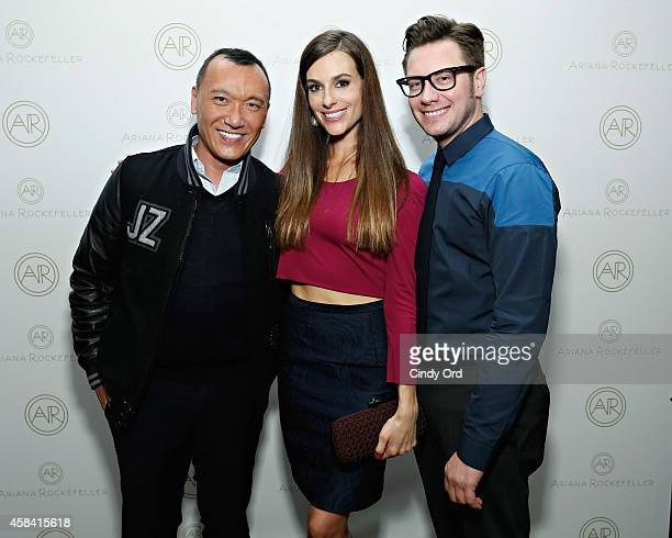 Editor in Chief of Yahoo Style Joe Zee fashion designer Ariana Rockefeller and Design Director at Ariana Rockefeller Rob Younkers attend the opening...