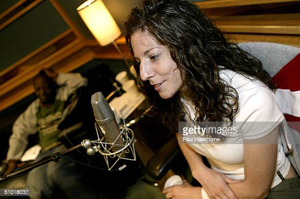 Editor in Chief of YRB Magazine Courtney Carreras chimes in during AOL@Networks taping of Wyclef Jean's Refugee Radio at Platinum Sound Recording...