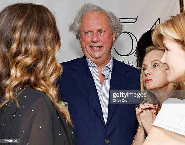 Editor in Chief Vanity Fair Magazine Graydon Carter visits backstage after Rita Wilson's performance at 54 Below on April 18 2013 in New York City