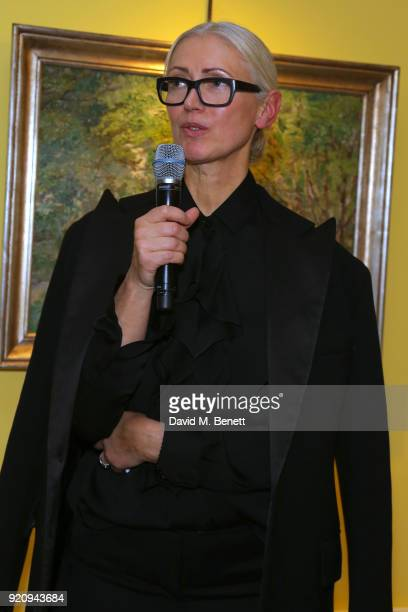 Editor in Chief Vogue Germany Christiane Arp speaks at 'An Evening of German Fashion' at the German Embassy on February 19 2018 in London England