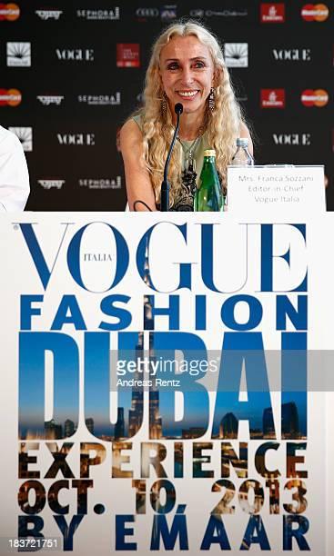 Editor in Chief Vogue Italia Franca Sozzani attends the Vogue Fashion Dubai Experience press conference at Burj Khalifa on October 9 2013 in Dubai...