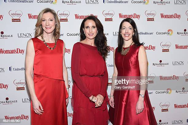 Editor in Chief Woman's Day Susan Spencer actress Andie MacDowell and Publisher and CRO Woman's Day Kassie Means attend the 12th Annual Woman's Day...