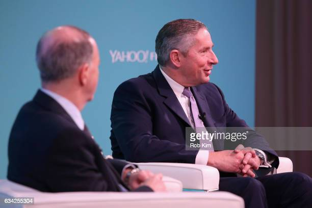 Editor in Chief Yahoo Finance Andy Serwer and Ceo Arconic Klaus Kleinfeld speak on stage at the Yahoo Finance All Markets Summit on February 8 2017...