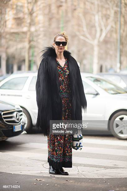 Editor JJ Martin wears vintage pieces from her La Double J website on February 27 2015 in Milan Italy