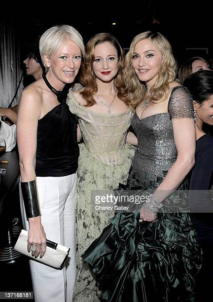 Editor Joanna Coles actress Andrea Riseborough and Singerdirector Madonna attend The Weinstein Company's 2012 Golden Globe Awards After Party with...