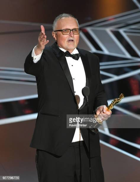Editor Lee Smith accepts Best Film Editing for 'Dunkirk' onstage during the 90th Annual Academy Awards at the Dolby Theatre at Hollywood Highland...