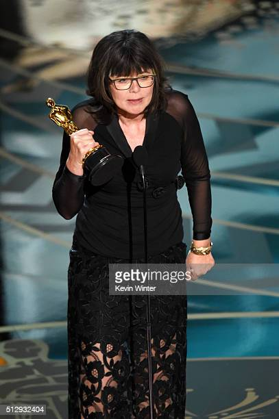 Editor Margaret Sixel accepts the Best Film Editing award for 'Mad Max Fury Road' onstage during the 88th Annual Academy Awards at the Dolby Theatre...