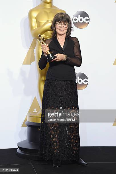 Editor Margaret Sixel winner of the Best Film Editing award for 'Mad Max Fury Road' poses in the press room during the 88th Annual Academy Awards at...