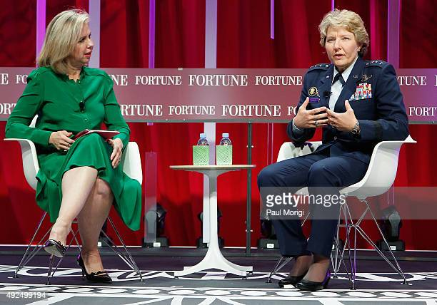 Editor Nancy Gibbs and United States Air Force Academy Superintendent Lt Gen Michelle Johnson speak onstage during Fortune's Most Powerful Women...