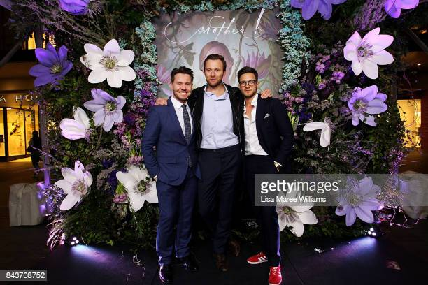 GQ Editor Nick Smith Managing Editor Michael Christensen and Digital Editor Jack Phillips pose at the Paramount Flower Garden DJ Booth during Vogue...