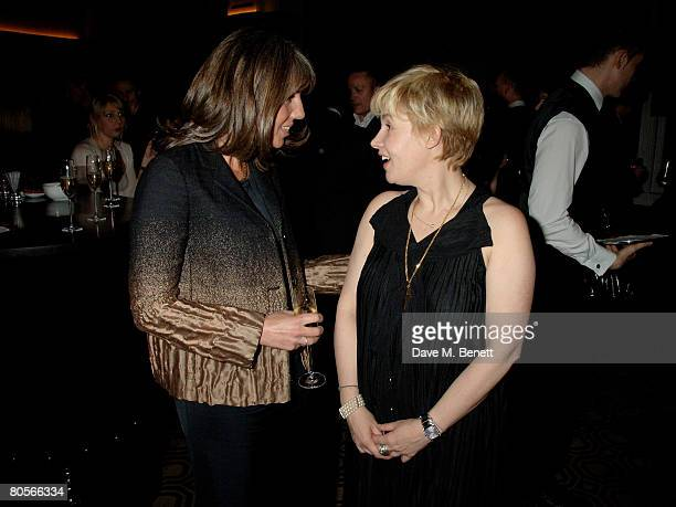 Editor of Conde Nast Traveller Sarah Miller and chef Helene Darroze attend the Conde Nast Hot Hotels Awards at Connaught Hotel on April 8 2008 in...