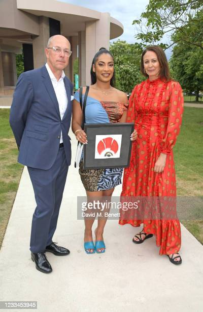 Editor of GQ Dylan Jones, Priya Ahluwalia and CEO of the British Fashion Council Caroline Rush attend a drinks reception celebrating 2021 BFC/GQ...
