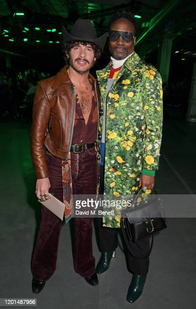 Editor of GQ Style Luke Day and Billy Porter attend the Christopher Kane show during London Fashion Week February 2020 at The Mail Centre on February...