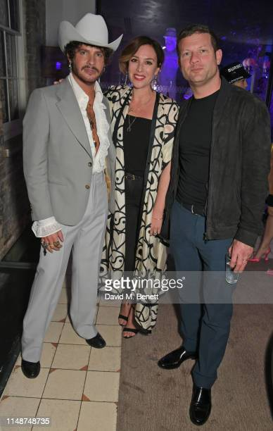 Editor of GQ Style Luke Day, Dee Koppang O'Leary and Dermot O'Leary attend the GQ Style and Browns party to celebrate LFWM June 2019 at Soho House on...