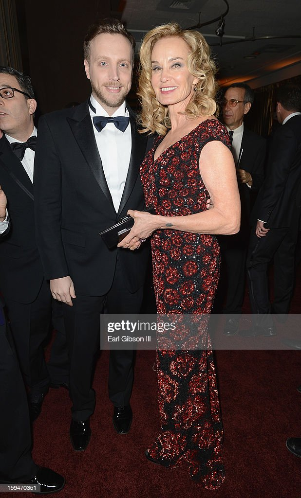 Editor of InStyle Ariel Foxman and actress Jessica Lange attend the 2013 InStyle and Warner Bros. 70th Annual Golden Globe Awards Post-Party held at the Oasis Courtyard in The Beverly Hilton Hotel on January 13, 2013 in Beverly Hills, California.