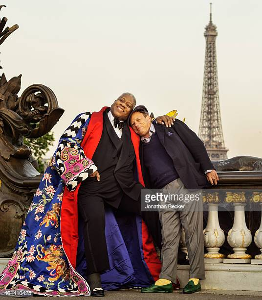 Editor of Numero Russia Andre Leon Talley and photographer Jonathan Becker are photographed for Vanity Fair Magazine on June 30 2013 in Paris France...