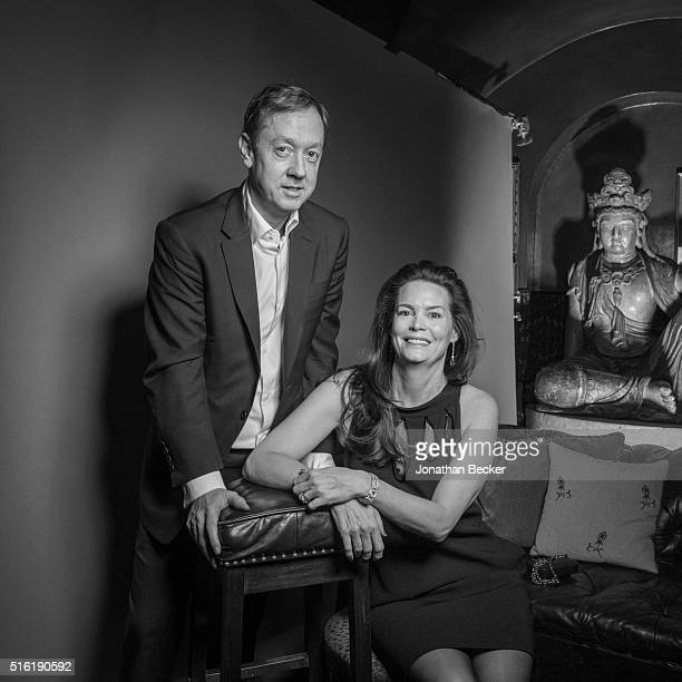 Editor of The Mail on Sunday Georgie Greig and wife Kathryn Greig are photographed at the Charles Finch and Chanel's PreBAFTA on February 7 2015 in...