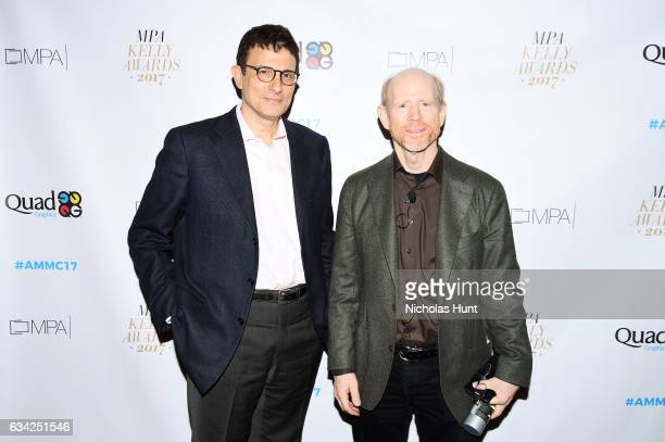 Editor of the New Yorker David Remnick and Ron Howard attend the American Magazine Media Conference 2017 on February 8 2017 in New York City