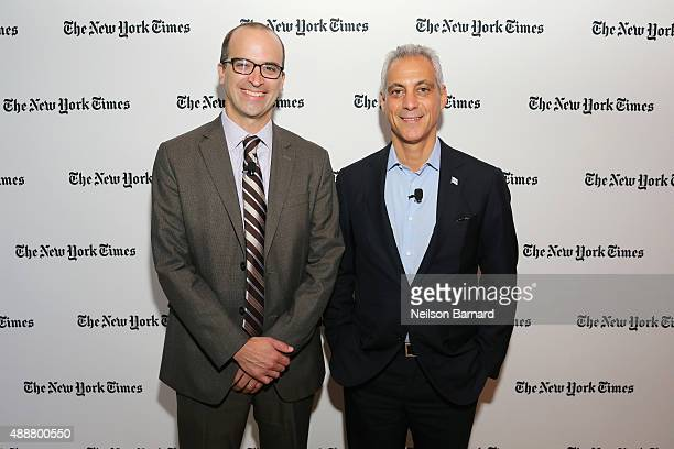 Editor of The Upshot David Leonhardt and Mayor of Chicago Rahm Emanuel attend the New York Times Schools for Tomorrow conference at New York Times...