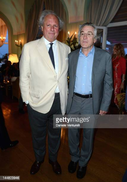 Editor of Vanity Fair Graydon Carter and actor Robert De Niro attend the Vanity Fair and Gucci Party at Hotel Du Cap during 65th Annual Cannes Film...