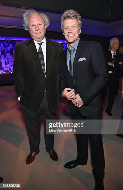 Editor of Vanity Fair Graydon Carter and recording artist Jon Bon Jovi attend the Vanity Fair Super Bowl Party, hosted by Graydon Carter & Jon Bon...