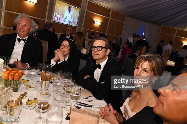 Editor of Vanity Fair Graydon Carter writer Fran Lebowitz actor Colin Firth and Anna Scott attend the 2016 Vanity Fair Oscar Dinner Hosted By Graydon...