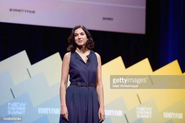 Editor of Vanity Fair Radhika Jones delivers the opening remarks onstage at Day 1 of the Vanity Fair New Establishment Summit 2018 at The Wallis...