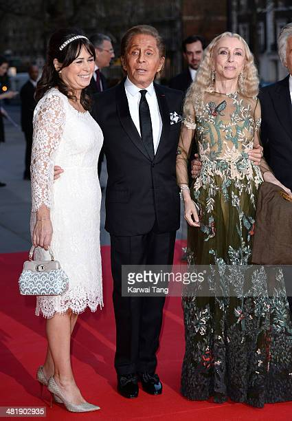 Editor of Vogue UK Alexandra Shulman Valentino and editor of Vogue Italia Franca Sozzani attend the preview of The Glamour of Italian Fashion...