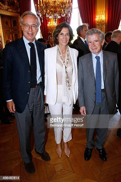 Editor Olivier Orban his wife writer Christine Orban and Alain Minc attend Xavier Darcos receives 'L'Epee d'Academicien' in Paris on October 1 2014...