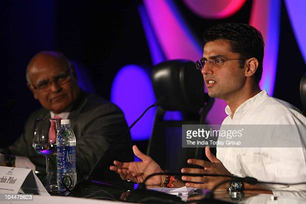 Editor Prabhu Chawla looks at Minister of State for Communications Sachin Pilot as he speaks during India Today Youth Summit 2010 in New Delhi on...