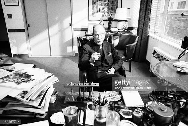 Editor publisher and founder of Esquire Magazine Arnold Gingrich poses for a portrait on June 27 1967 in his office in the Hearst Building in New...