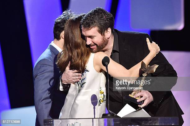 Editor Tom McArdle accepts the Best Editing award for 'Spotlight' from actors Jay Duplass and Marisa Tomei onstage during the 2016 Film Independent...