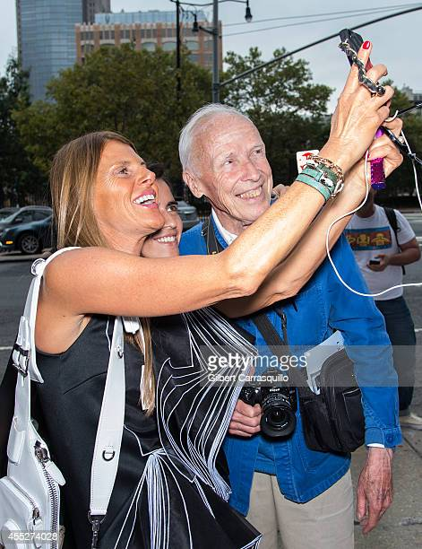 Editoratlarge and creative consultant for Vogue Japan Anna Dello Russo and photographer Bill Cunningham are seen at the Calvin Klein Spring Summer...