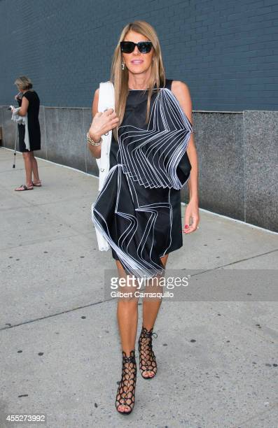 Editoratlarge and creative consultant for Vogue Japan Anna Dello Russo is seen at the Calvin Klein Spring Summer 2015 fashion show during New York...